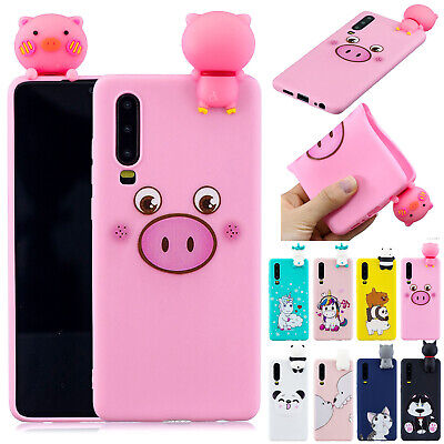 Cute 3D Animal Cartoon Silicone Gel Case Cover For Huawei P20 P30 Pro P Smart