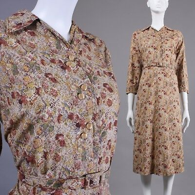 L Vintage 1940s Brown Floral Cotton Tea Length Day Dress Long Slv Glass Button