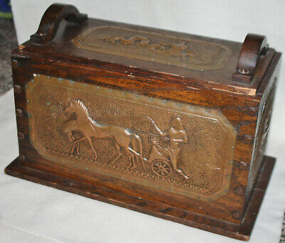 Arts and Crafts Quarter Sawn Oak with Ancient Scene Brass Panels Document Box