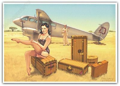 Ex-libris Romain Hugault Pin-Up Wings Avion Dita Von Teese Signé A4