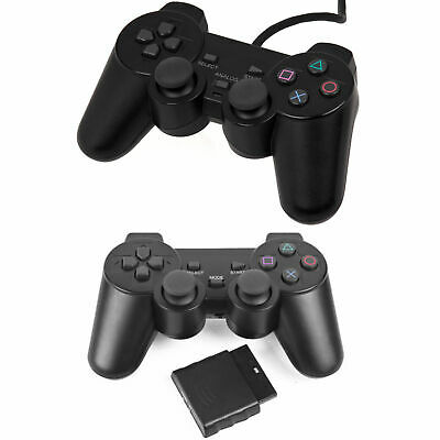 Wired Wireless Black Dual Shock Controller for PS2 PlayStation Joypad Gamepad UK