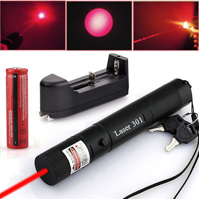 Military 650nm 301 Red Laser Pointer Lazer Pen Beam Light 18650 Battery +Charger