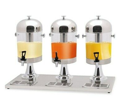 Quattro Triple Chrome Executive Juice Dispenser - 3 x 8 ltr - With Ice Chambers
