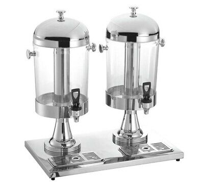 Quattro Twin Chrome Executive Juice Dispenser - 2 x 8 ltr - With Ice Chambers