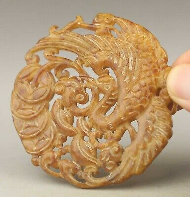 Chinese old natural jade hand-carved double dragon pendant 2.7 inch