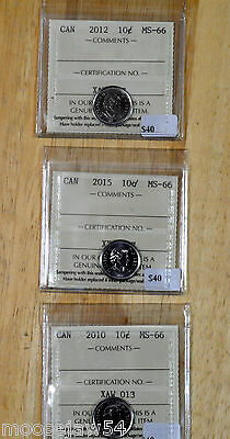 Three - Canadian - MS 66  10 Cents  -  ICCS  Graded   - 2010 - 2012 - 2015