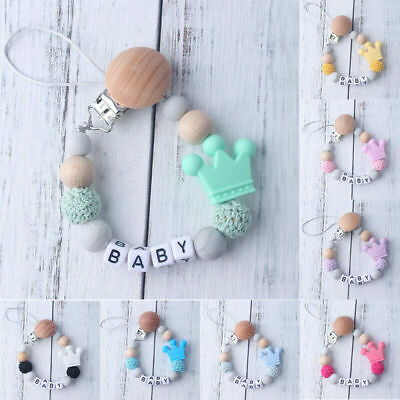 Silicone Wooden Pacifier Clip Soother Chains Baby Nipple Teether Strap Chain NEW