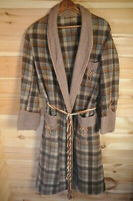 Vtg English 40's Plaid Wool Dressing Gown Smoking Gown Brown Distressed Medium