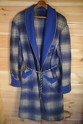 Vtg English 40's-50's Plaid Wool Dressing Gown Smoking Gown Blue Medium