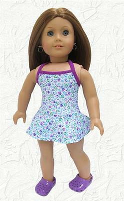 Rainbow Tie Die Swim Bathing Suit 1 Piece 18 in Doll Clothes Fits American Girl