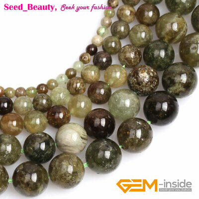 Natural Round Green Tsavorite Gemstone Stone Loose Beads For Jewelry Making 15""