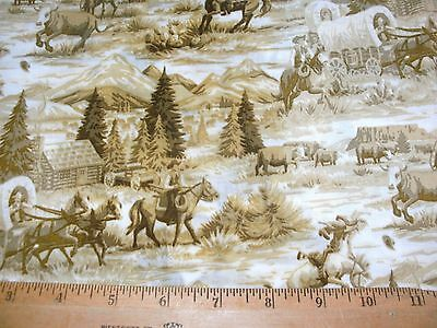 1 FQ Western Cowboy Quilting Fabric Scenic Toile Allover Rawhide Tan Lt Brown