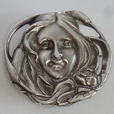 Antique Art Nouveau Unger Bros Sterling Silver Flower Lady Locket Holder Brooch