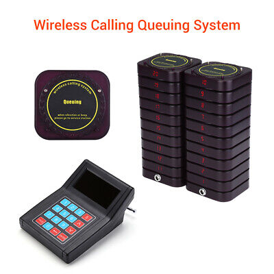 Restaurant Wireless Calling Pager Paging System 1 Transmitter+20 Coaster Pagers