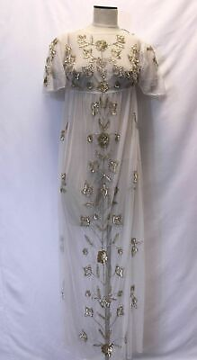 1c4a5bb32e boohoo Women's Boutique Embellished Sheer Maxi Dress SV3 White Size US:6 NWT