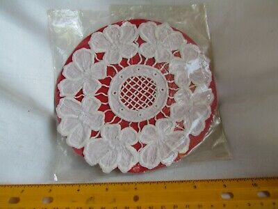 Vintage antique hand made embroidered doily napkin floral lace