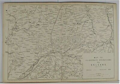 OLD ANTIQUE MAP FRANCO PRUSSIAN WAR PLAN c1870's ORLEANS FRANCE OPERATIONS