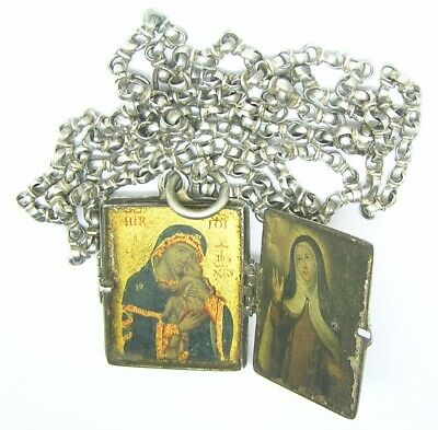 16th - 17th century Renaissance silver devotional miniature book reliquary chain