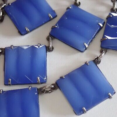 Antique Art Deco Sterling Silver Blue Chalcedony Glass Collar Necklace