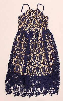 a99e04a99d boohoo Womens Boutique Ria Strappy Lace Midi Skater Dress Navy GG8 Size US:4  NWT