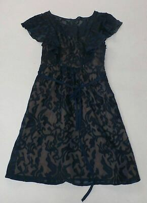 Moulinette Soeurs Anthropologie Lace Overlay Sheath Dress Navy MM1 Size 2 Petite