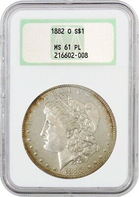 1882 O $1 Morgan Silver Dollar NGC MS61 PL Old Fat Holder