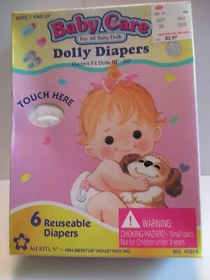 """Vintage Baby Care Dolly Doll Diapers Fit 18"""" 20"""" Dolls 6 Reusable 1994 Meritus"""