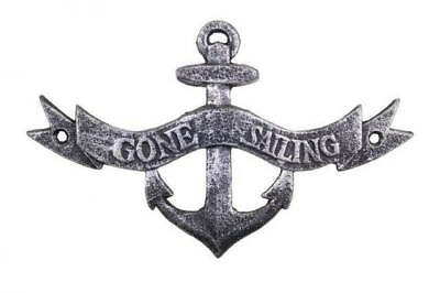 """Antique Silver Cast Iron Gone Sailing Anchor Sign 8"""" - Metal Wall Plaque - Cast"""