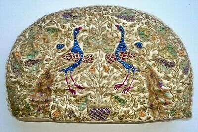Antique 19Th Century Metallic Thread & Silk Embroidered Peacock Tea Cosy