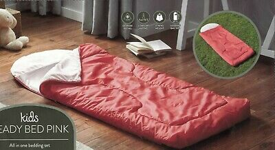 Kids Ready Bed - Roll Out Sleeping Bag with Built in Foam Mat + carry bag. PINK