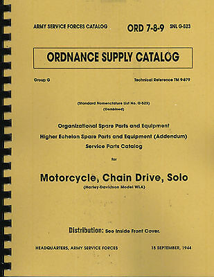 ORD 7-8-9 SNL G523 ~ WWII Harley Davidson, WLA Parts List Manual ~ Reprnt