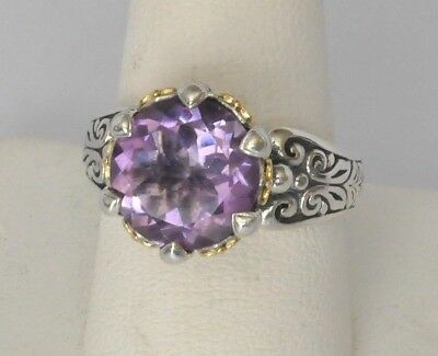 Konstantino Ring Size 6 Faceted Amethyst Sterling Silver 18K Yellow Gold New