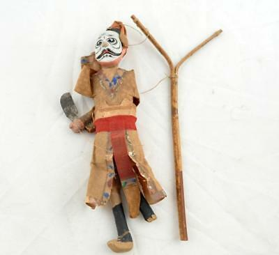 Antique Chinese Opera Doll Man In Painted Mask Marionette