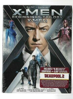 Brand New Sealed BLU-RAY + Digital HD - X-MEN Beginnings Trilogy  Also In French