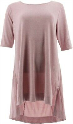Lisa Rinna Collection Womens Tunic Side Slits Scoop Mauve Mist M NEW A278427