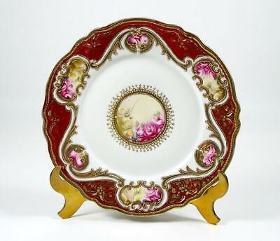 Antique Noritake Plate Hand Painted Roses Heavy Gold Trim Gold Bead Moriage 1906