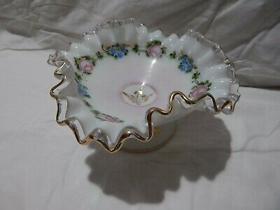 Charleton Fenton Beautiful Hand Painted White to Clear Candy/Nut Dish  Square