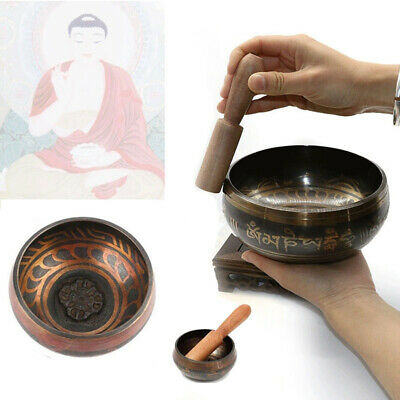 Tibetan Buddhist Brass Meditation Mallet Set Chakra Healing Singing Bowl Fine