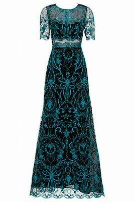 00f2cd4d8ecc Marchesa Notte Black Teal Illusion Embroidered Women's Size 6 Gown $1095-  #841