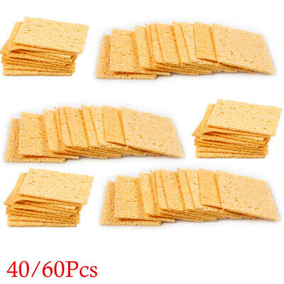 40/60Pcs Welding Soldering Iron Replacement Sponges Solder Cleaning Pads 35*45mm