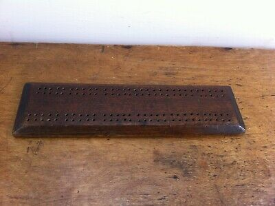 DECORATIVE VINTAGE WOODEN CRIBBAGE BOARD 11 by 3 inches