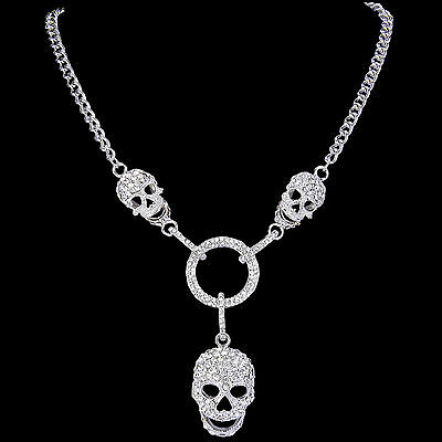 Skull Skeleton Necklace Pendant Clear Austrian Crystal Silver Plated Women