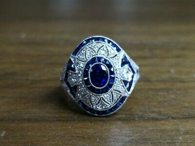Vintage Art Deco 1.2 Ct Round Cut & Sapphire Engagement Ring 14K White Gold Over