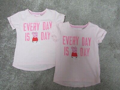 2 x Twins Next girls 12-18 months everyday is Peppa Pig day Tshirt tops