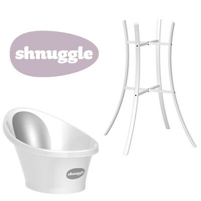 Shnuggle Baby Bath with Bum Support & Bath Stand - Grey/Silver
