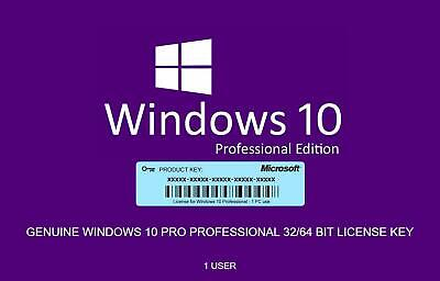 INSTANT Microsoft Windows 10 Pro Professional 32/64-bit Genuine License Key Prod