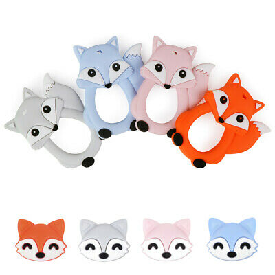Silicone Beads Baby Teether Teething Toy Fox Pacifier Clip Chewable BPA Free