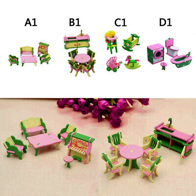 6pcs/set Wooden Dollhouse Furniture Doll House Miniature Dining Room Play Toys