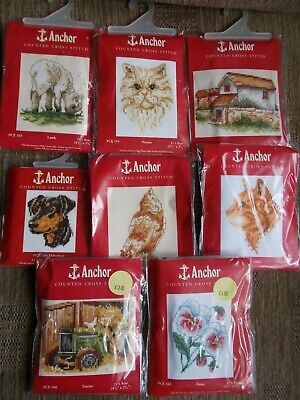 """Cross stitch Kit  8 kits """" Assorted designs """" New by Anchor"""