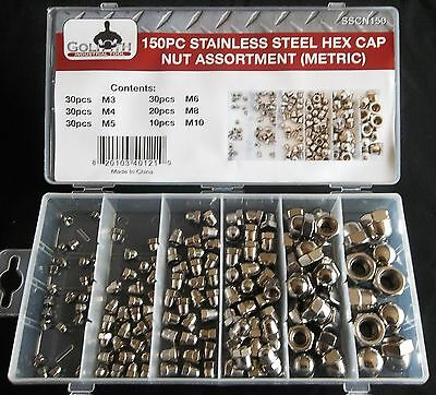 150pc GOLIATH INDUSTRIAL SSCN150 STAINLESS STEEL METRIC HEX CAP NUT ASSORTMENT